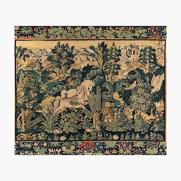 FANTASTIC ANIMALS AND HORSES IN WOODLAND Blue Green Ivory Antique French Tapestry Photographic Print