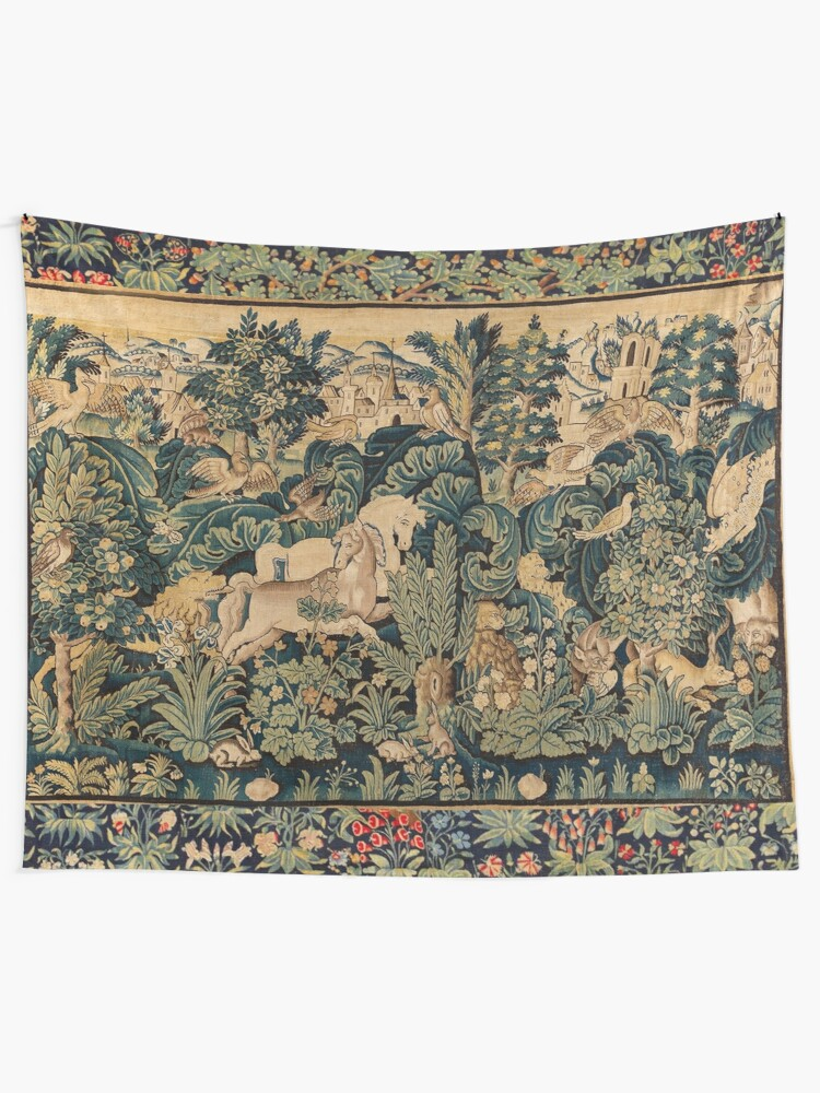 Alternate view of FANTASTIC ANIMALS AND HORSES IN WOODLAND Blue Green Ivory Antique French Tapestry Tapestry