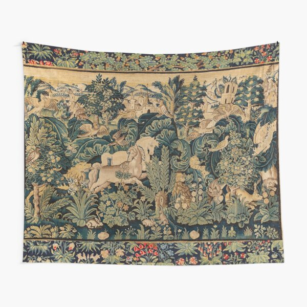 FANTASTIC ANIMALS AND HORSES IN WOODLAND Blue Green Ivory Antique French Tapestry Tapestry