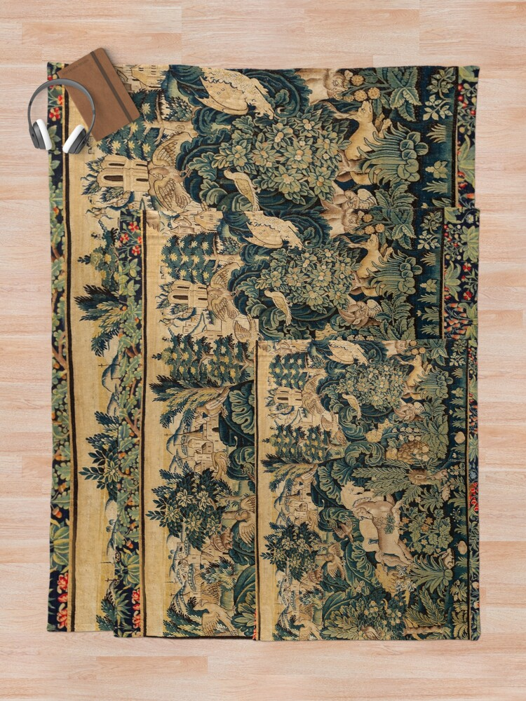 Alternate view of FANTASTIC ANIMALS AND HORSES IN WOODLAND Blue Green Ivory Antique French Tapestry Throw Blanket