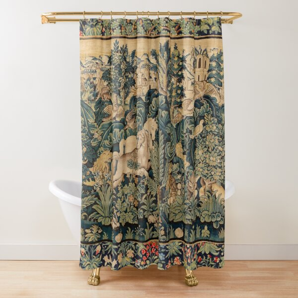 FANTASTIC ANIMALS AND HORSES IN WOODLAND Blue Green Ivory Antique French Tapestry Shower Curtain