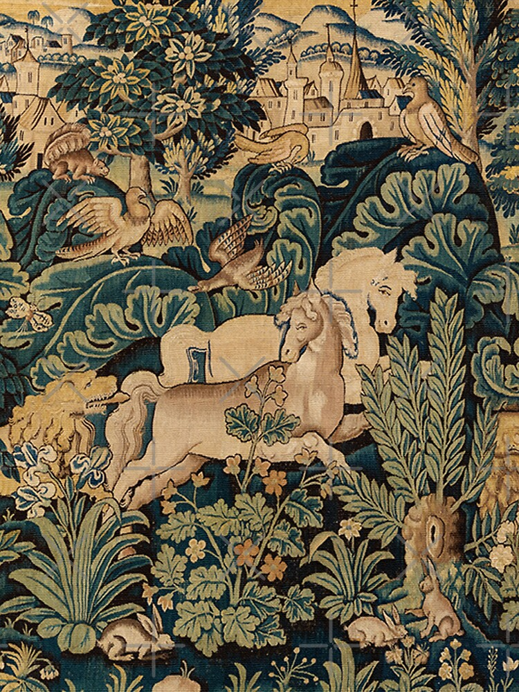 FANTASTIC ANIMALS AND HORSES IN WOODLAND Blue Green Ivory Antique French Tapestry by BulganLumini