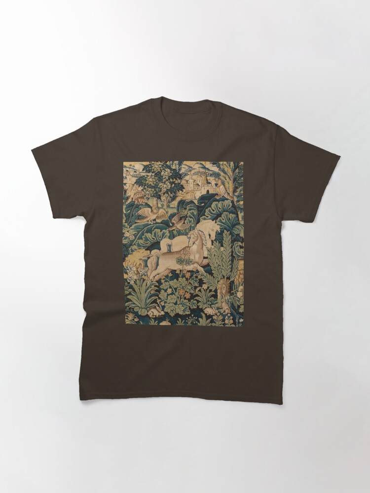 Alternate view of FANTASTIC ANIMALS AND HORSES IN WOODLAND Blue Green Ivory Antique French Tapestry Classic T-Shirt