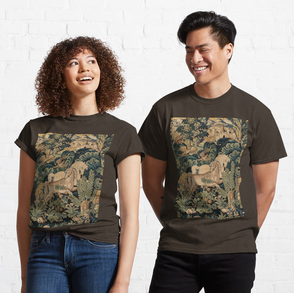 FANTASTIC ANIMALS AND HORSES IN WOODLAND Blue Green Ivory Antique French Tapestry Classic T-Shirt