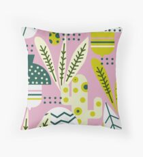 Contemporary acorns and mushrooms Throw Pillow