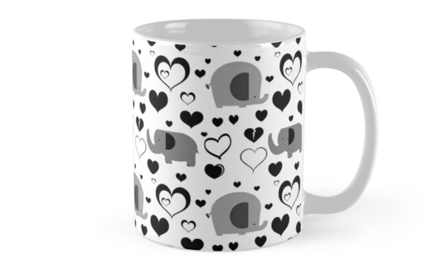 Hearts and Elephants Black and White Pattern by SaradaBoru