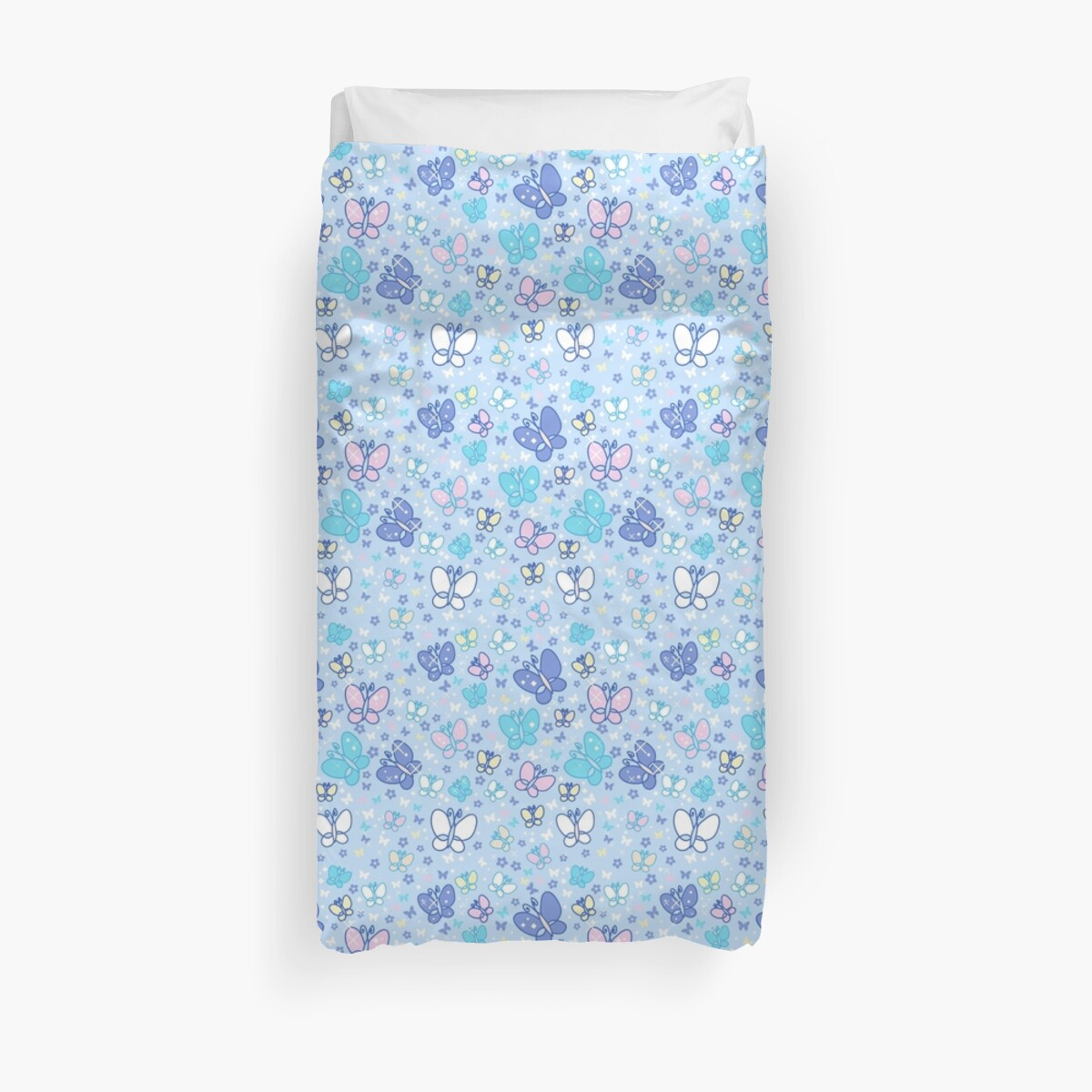 Butterflies and Sparkles Blue Pattern by SaradaBoru