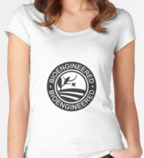 Bioengineered Label - Black and White Women's Fitted Scoop T-Shirt