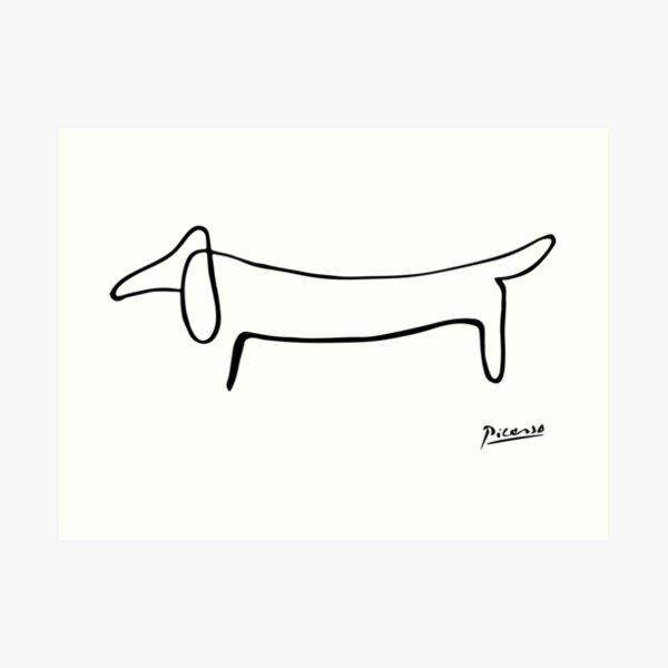 Pablo Picasso, Dachshund Dog, Lump Artwork, Animals Line Sketch, Prints, Posters, Bags, Tshirts, Men, Women, Kids Art Print