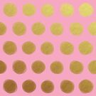 painted polka dots - pink and gold by beverlylefevre