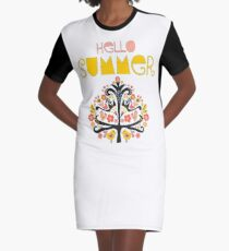 Hello Summer Scandinavian folk art illustration. Flat style isolated lettering. Papercut collage tree with flowers and birds black red pink yellow blue Graphic T-Shirt Dress