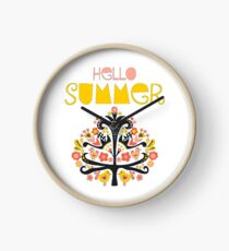Hello Summer Scandinavian folk art illustration. Flat style isolated lettering. Papercut collage tree with flowers and birds black red pink yellow blue Clock