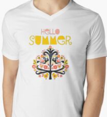 Hello Summer Scandinavian folk art illustration. Flat style isolated lettering. Papercut collage tree with flowers and birds black red pink yellow blue Men's V-Neck T-Shirt