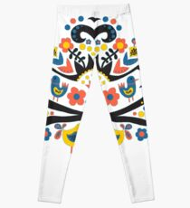 Hello Spring Scandinavian folk illustration Leggings