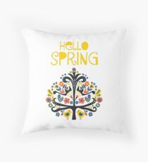 Hello Spring Scandinavian folk illustration Throw Pillow