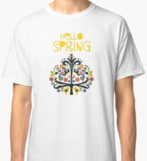 Hello Spring Scandinavian folk illustration Classic T-Shirt