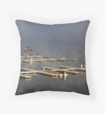 Port In The Morning Fog Throw Pillow