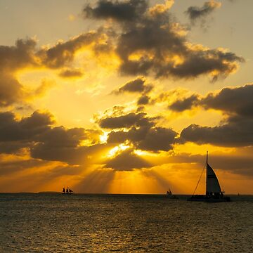 Key West Sailboat at Sunset by seacucumber