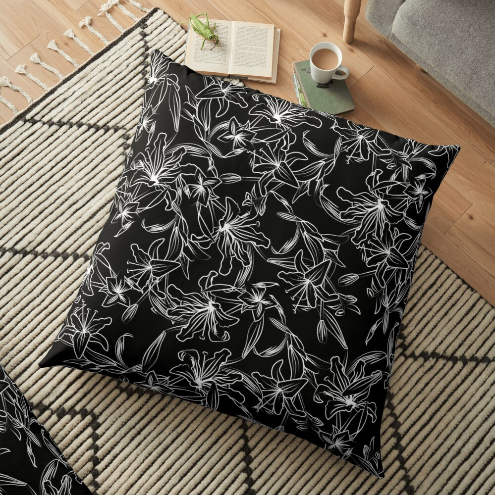 Lilies -White on Black Floor Pillow