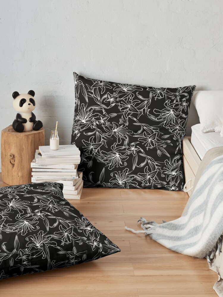 Alternate view of Lilies -White on Black Floor Pillow