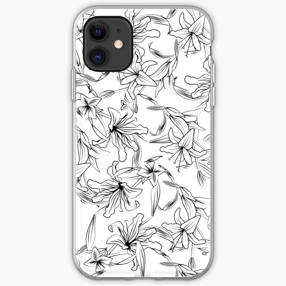 Lilies-Black on White iPhone Case & Cover