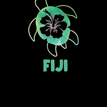 Sea Turtle Polynesian Hawaiian Honu Ocean Vacation Souvenir Hibiscus Flower Fiji by hlcaldwell