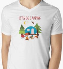 Lets go camping summer Travel illustration Men's V-Neck T-Shirt