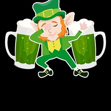 Dabbing Leprechaun Beer Funny St Patricks Day Irish Flag Apparel by CustUmmMerch