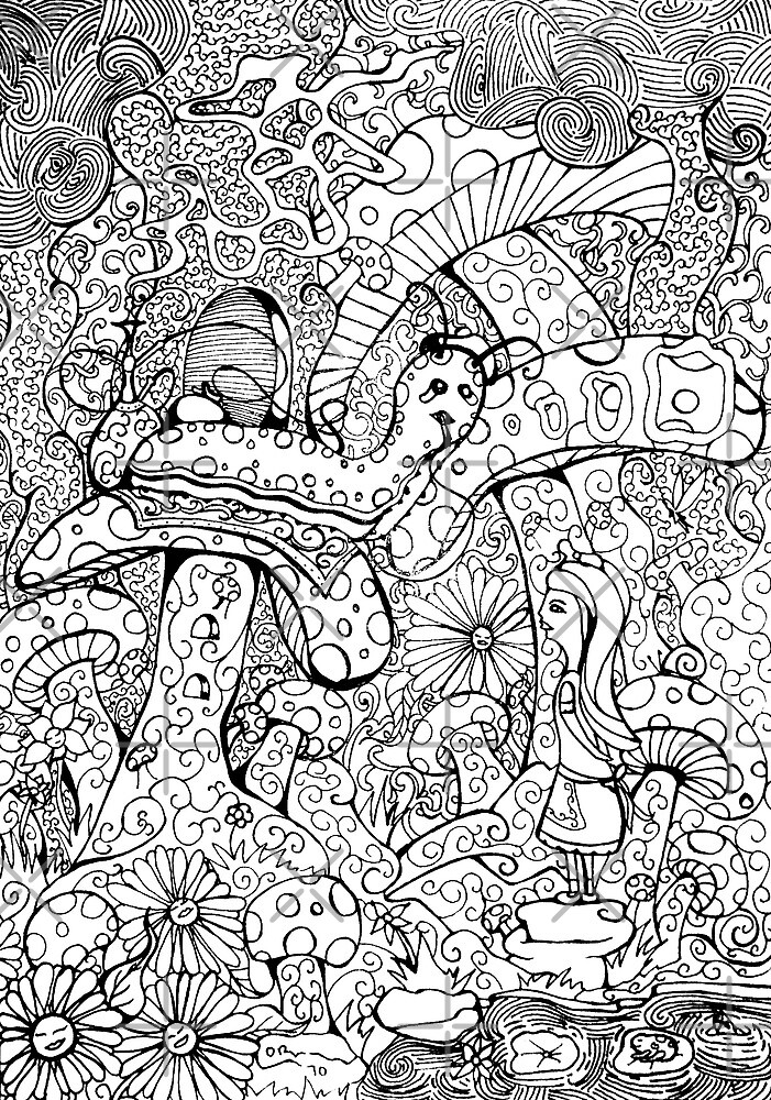 Alice And The Hookah Smoking Catterpillar by ogfx