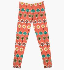 Doodle flowers seamless pattern on a peach orange background Leggings