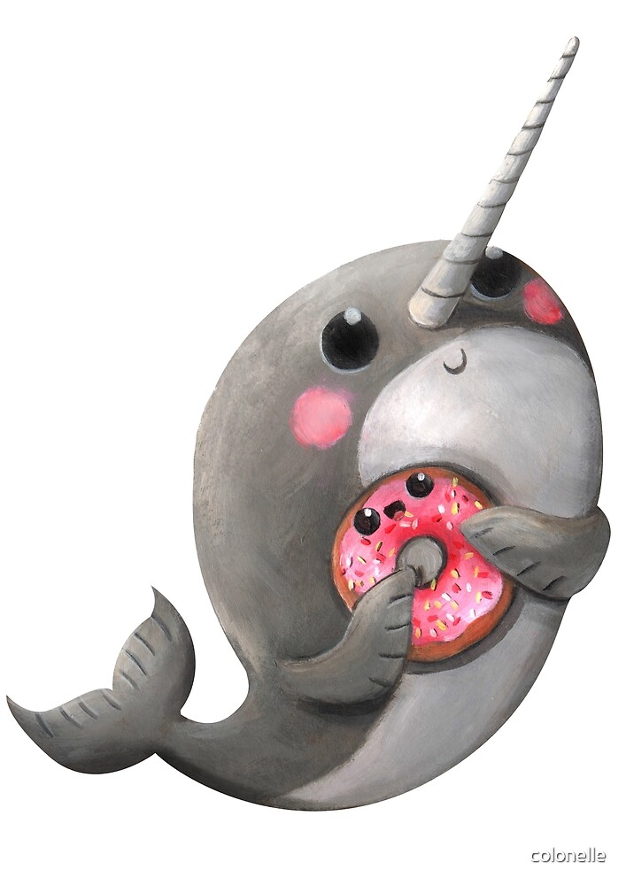 """Cute Narwhal with donut"" by colonelle 