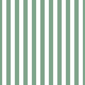 Sage Green & White Vertical Beach Hut Stripes by podartist