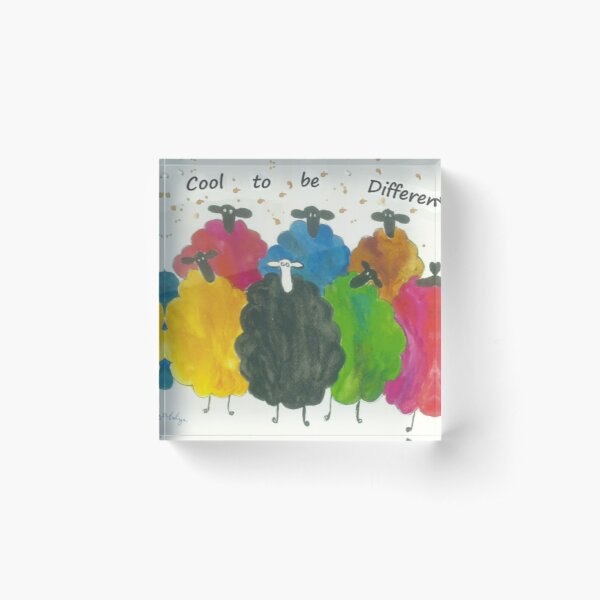 """Colourful Sheep """"It's Cool to be Different"""" Acrylic Block"""