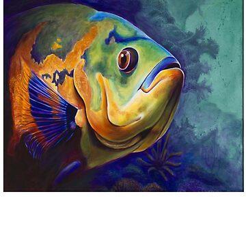 Oscar Fish - Oscar Fish Painting - Oscar Fish Drawing - Fish - Fish Shirt - Fish Art by Galvanized