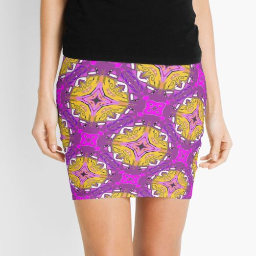 lilagelbes Muster Mini Skirt
