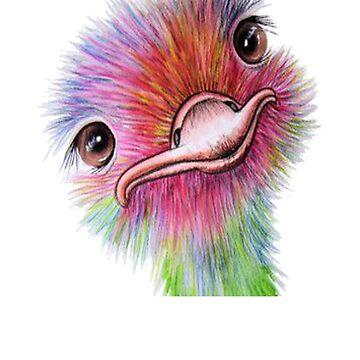 Ostrich - Ostrich Painting - Ostrich Drawing - Bird Lover - Gift For Bird Lovers - Ostrich Shirt - Bird Shirt - Bird Painting by Galvanized