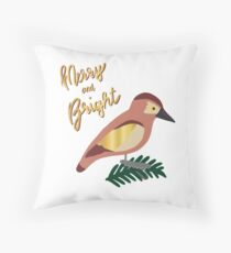 Merry and Bright Retro Bird Throw Pillow