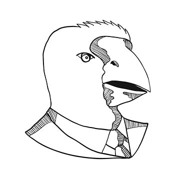 South Island Takahe Wearing Tie Drawing Black and White by patrimonio