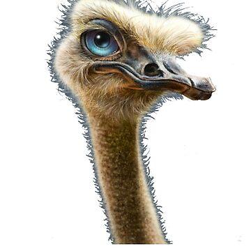 Ostrich - Ostrich Painting - Ostrich Drawing - Bird Lover - Gift For Bird Lovers - Ostrich Shirt - Bird Shirt - Bird Painting - Emu by Galvanized