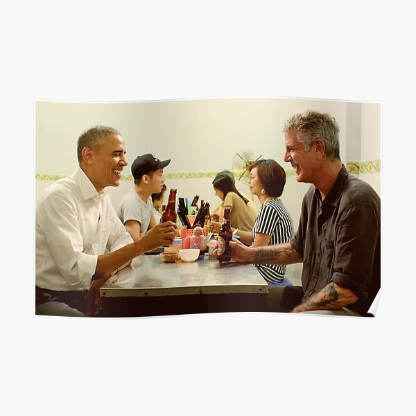 anthony bourdain and barack obama poster Poster