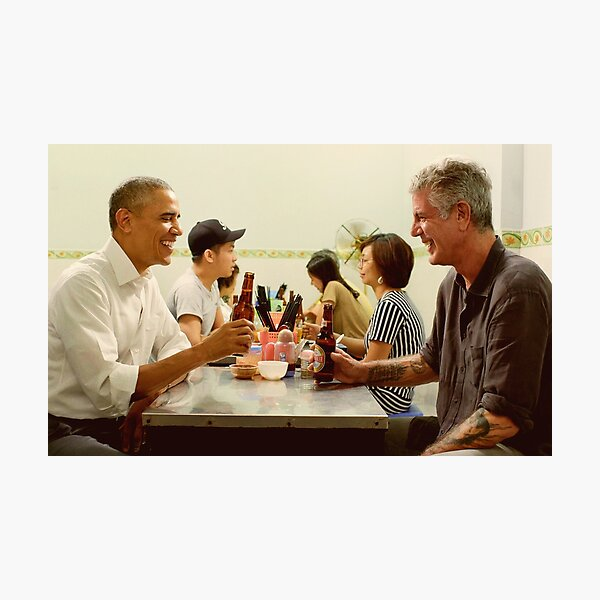 anthony bourdain and barack obama poster Photographic Print