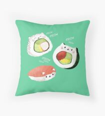 Cute Sushi Rolls Throw Pillow