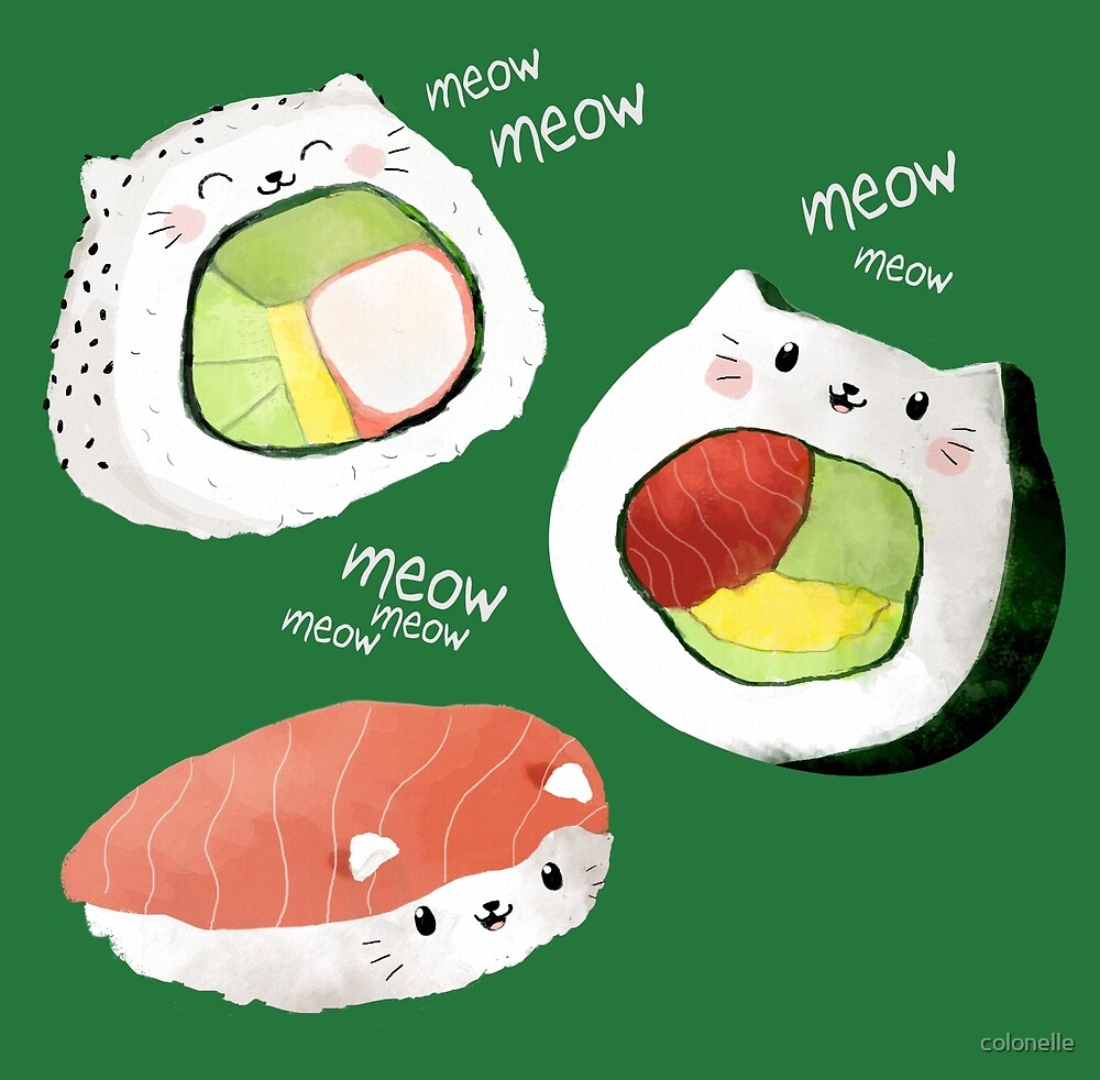 Quot Cute Sushi Rolls Quot By Colonelle Redbubble