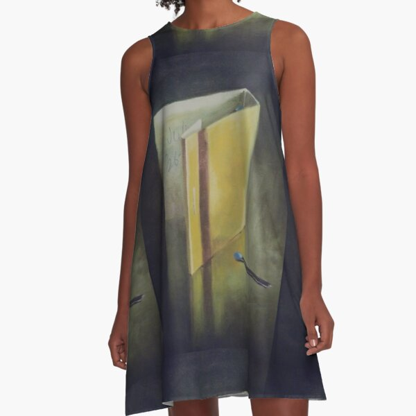 #wood #Painting #Yellow #StillLife #ModernArt #indoors #paper #one #writing A-Line Dress
