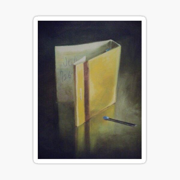 #wood #Painting #Yellow #StillLife #ModernArt #indoors #paper #one #writing Sticker