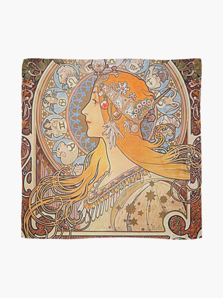 Alternate view of Alphonse Mucha,Zodiac,Art nouveau,vintage,reproduction Scarf