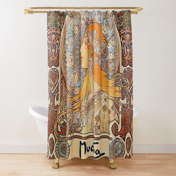 Alphonse Mucha,Zodiac,Art nouveau,vintage,reproduction Shower Curtain