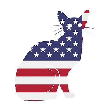 American Flag Funny Cat  by macshoptee