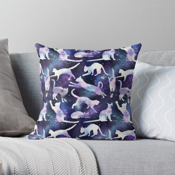 Cloud Cats in Space Throw Pillow