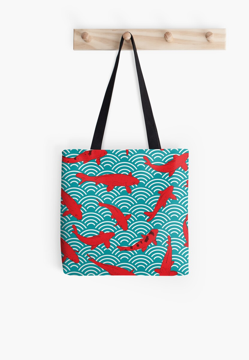 Koi carp. Red fish. black outline sketch doodle. azure teal burgundy maroon Nature oriental background with japanese wave circle pattern by EkaterinaP
